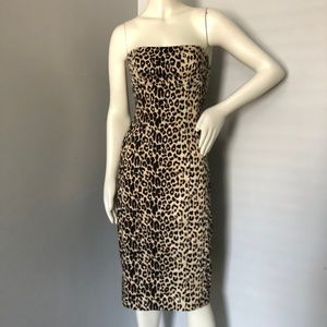 bebe Animal Print Strapless Fitted Pencil Dress